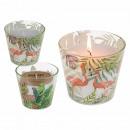 Weiße Kerze im Glas, Flamingo & Tropical sortiert