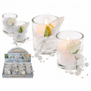 Scented candle (rose) in a glass with white floral