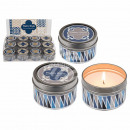 Scented candle in metal tin, retro, with lid, (whi