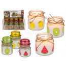 Scented candle in glass (kiwi, lemon, melon) appro