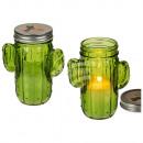 Biała świeca w zielonym kaktusowym szkle z metalow