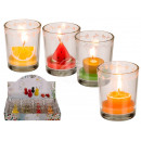 Candle in the glass, fruits, about 7 x 5 cm, 4 tim
