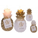 wholesale Candles & Candleholder: Candle, pineapple, gold / white, approx. 6.5 x 12