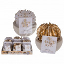wholesale Candles & Candleholder: Candle, cactus, in white cement pot, white / gold