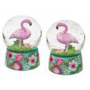 Polyresin-Glitterkugel, Flamingo, auf Sockel