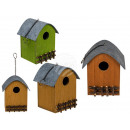 Wooden birdhouse with a round roof