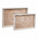 wholesale Crockery: White wooden tray,  I love my home, set of 2, ca.