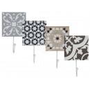 Großhandel Kleinmöbel: Metall-Wandhaken  auf Holzbrett mit braun/grau/blau