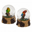 wholesale Snow Globes: Polyresin glitter ball, parrot, about 6.5 x 8.5 cm