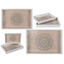 Wooden tray, mandala, set of 2, approx. 35 x 24 cm