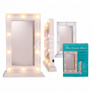 wholesale Mirrors: White plastic vanity mirror with 10 LED