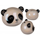 Ceramic money box with lock, panda, mother of pear