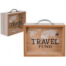 Wooden Money Box, Travel Fund, about 20.5 x 12 cm
