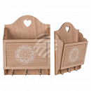 Natural colored wood key box with 3 hooks & A