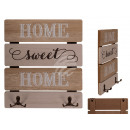 Wooden key board, Home Sweet Home, with 2 hooks,