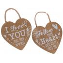 Wooden deco pendant, heart, approx. 17 x 17 cm, 2-