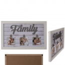 White wooden decorative frame, Family, with 3 clip