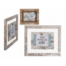 White wooden decorative frame, with clip holder