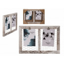 White wooden decorative frame, with two clip holde