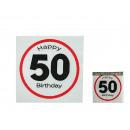 Paper napkins, Happy Birthday - 50, ca. 33 x 33 cm