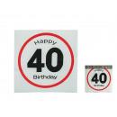 Papieren servetten, Gelukkige Verjaardag - 40, ong