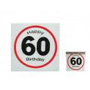 nagyker Háztartás és konyha: Papír szalvéták, Happy Birthday - 60, körülbelül 3