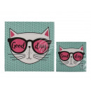 Paper napkins, cat with glasses Good day