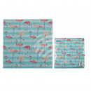 Turquoise colored paper napkins, flamingo, ca. 33