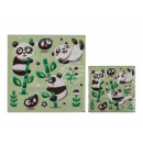 Green paper napkins, panda with bamboo, approx. 33