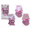 Pink / White Plastic Wall Stickers, Heart & Lo