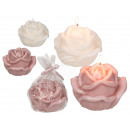 Candle, Rose, about 11 x 7 cm, 2-colored assorted