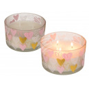 White scented candle in glass, with heart motif
