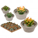 wholesale Artificial Flowers: Candle, succulent plant, in a cement pot, approx.