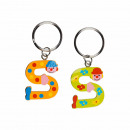 Metal Key Chain Wooden Letter S