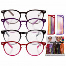 wholesale Reading Glasses: Finished reading  aid with plastic frame, Striped S