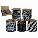 Black, white ribbon, approximately 10 mm x 3 m, 5-