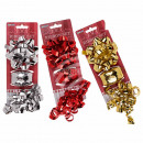 Gift ribbon set, 3 pieces, red / silver / gold