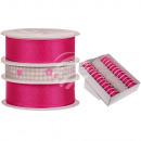 Pinkfarbenes Schleifenband mit Blume & Herz, ca. 2