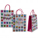 Paper gift bag, Happy Birthday , about 18 x 8 x