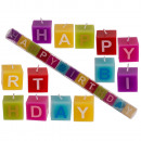 Multi coloured square candles with letters, Happy