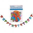 Großhandel Partyartikel: Papier-Girlande, Happy Birthday, ca. L: ca. 1,55 m