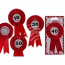 Party badge, Happy Birthday, ca. 14,5 x 8 cm, 4 as