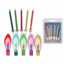 5 birthday candles with 5 different firing color