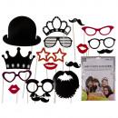 Party photo accessoires on stick (Moustache, Lips,