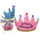 Party crown with 5 colorful LED, Joyeux Anniversai