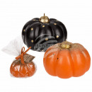 Candle, pumpkin with glitter, ca. 10 x 7 cm, 2-col