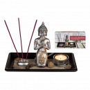 Decoration set, Polyresin -Buddha on wooden tray,