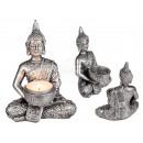 Polyresin-Teelichhalter, Buddha, ca. 14,5 x 11 cm