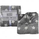 Großhandel Kissen & Decken: Graue Kuscheldecke  mit weißen Sternen, 100% Polyes