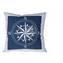 Großhandel Kissen & Decken: Blau/Weißes  Kissen, Kompass,  100% Baumwolle, ...